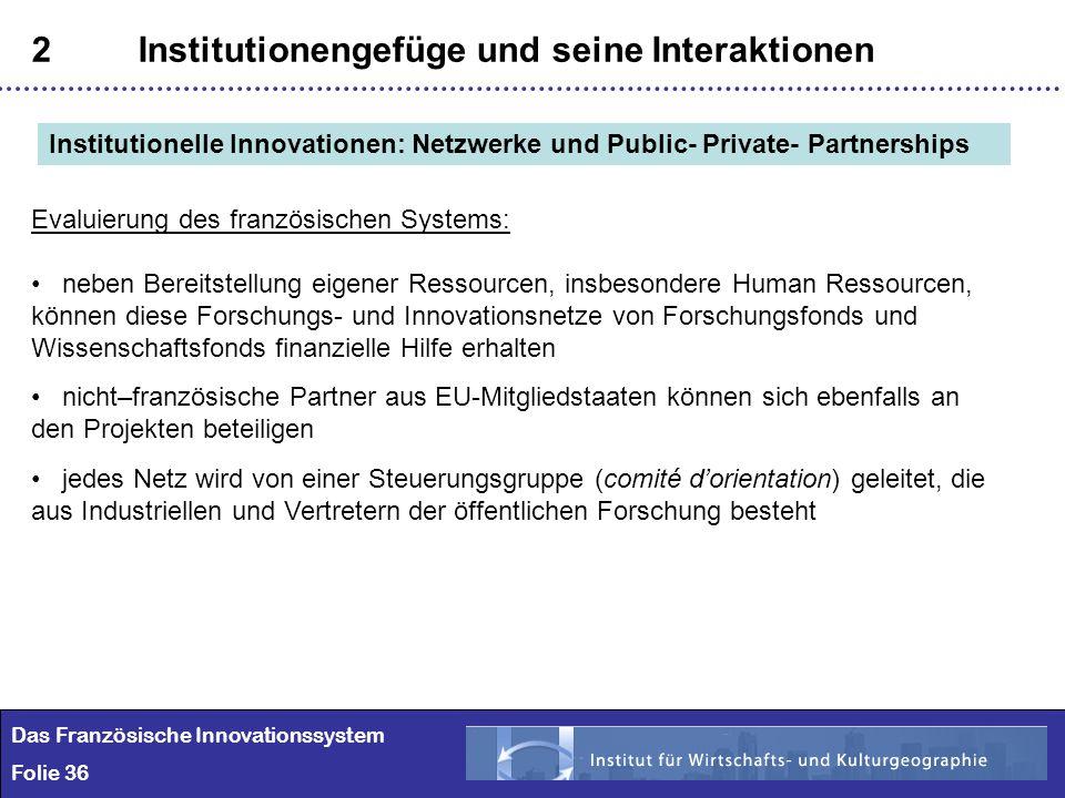 36 2Institutionengefüge und seine Interaktionen Das Französische Innovationssystem Folie 36 Institutionelle Innovationen: Netzwerke und Public- Privat