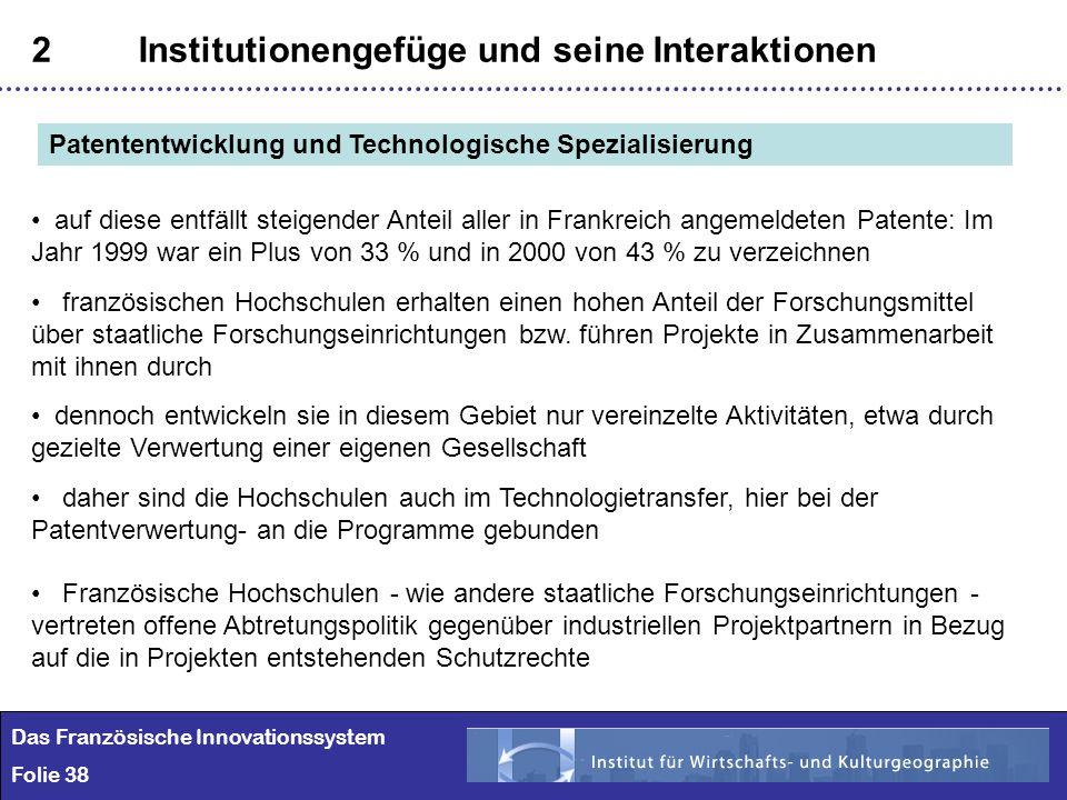 38 2Institutionengefüge und seine Interaktionen Das Französische Innovationssystem Folie 38 Patententwicklung und Technologische Spezialisierung auf d