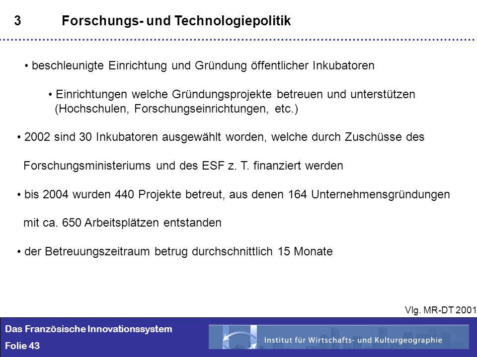 43 3Forschungs- und Technologiepolitik beschleunigte Einrichtung und Gründung öffentlicher Inkubatoren Einrichtungen welche Gründungsprojekte betreuen