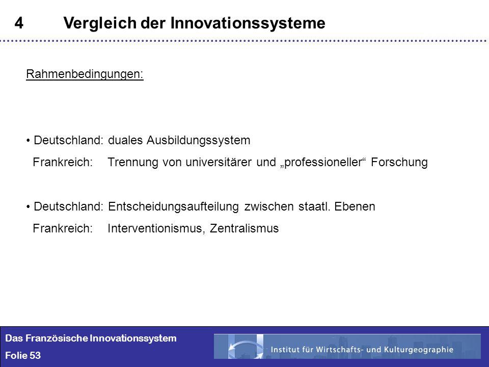 53 4Vergleich der Innovationssysteme Das Französische Innovationssystem Folie 53 Rahmenbedingungen: Deutschland: duales Ausbildungssystem Frankreich:
