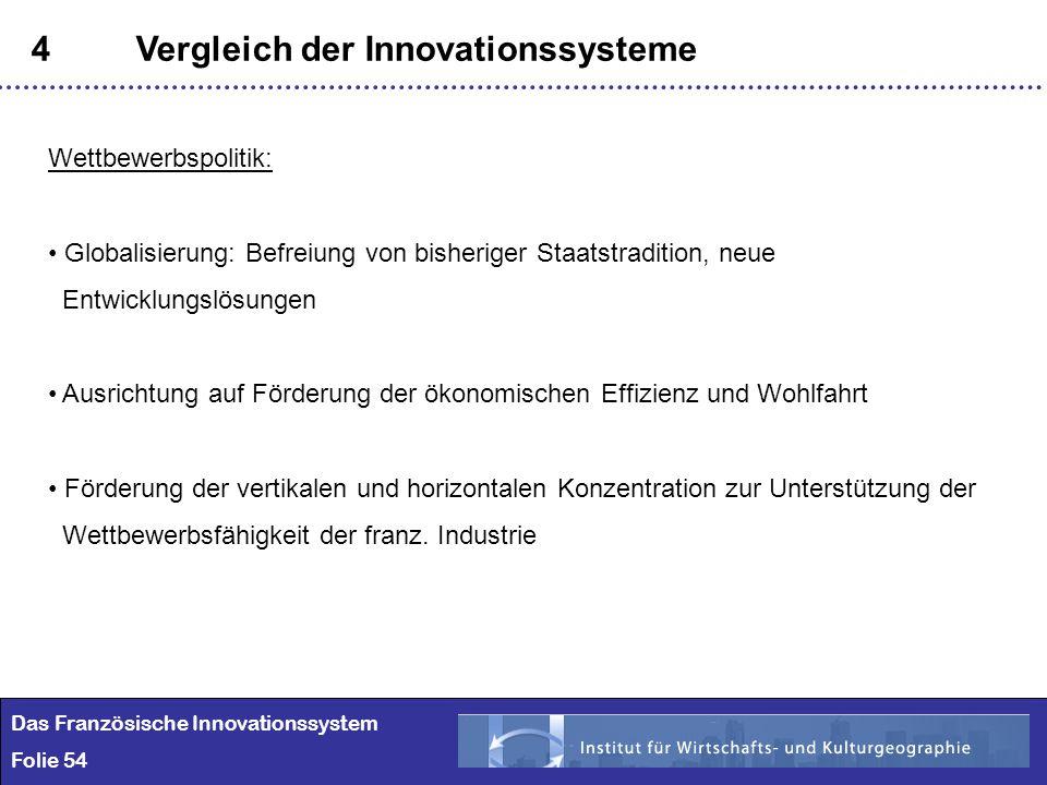 54 4Vergleich der Innovationssysteme Das Französische Innovationssystem Folie 54 Wettbewerbspolitik: Globalisierung: Befreiung von bisheriger Staatstr