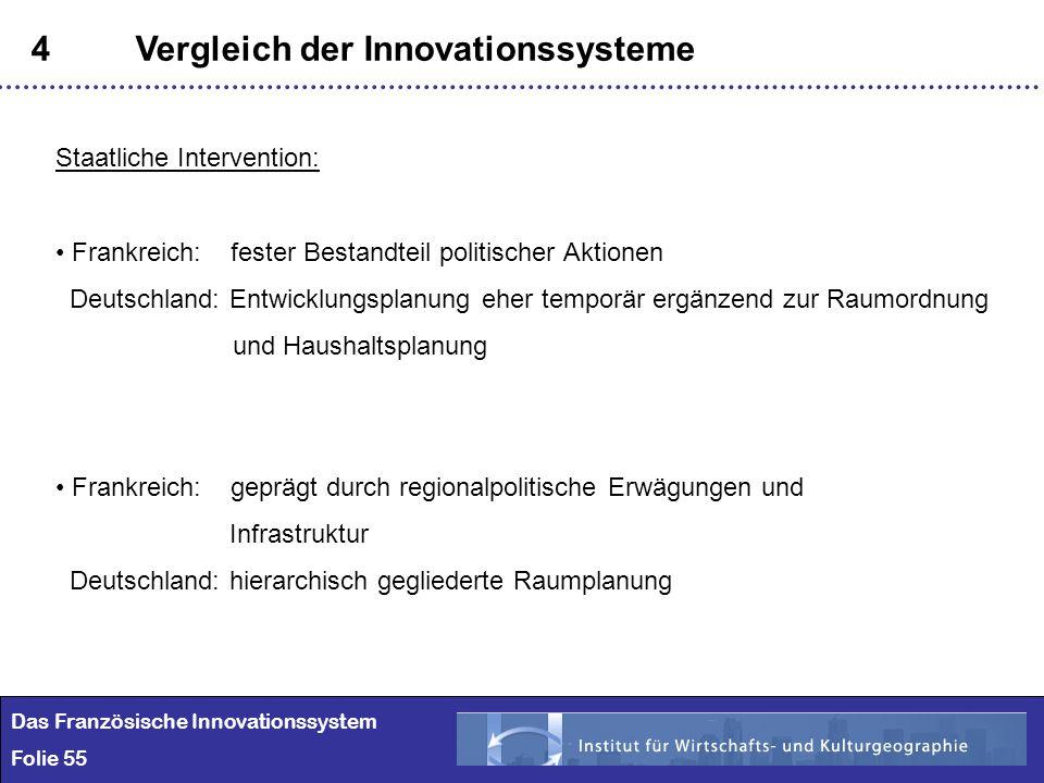 55 4Vergleich der Innovationssysteme Das Französische Innovationssystem Folie 55 Staatliche Intervention: Frankreich: fester Bestandteil politischer A