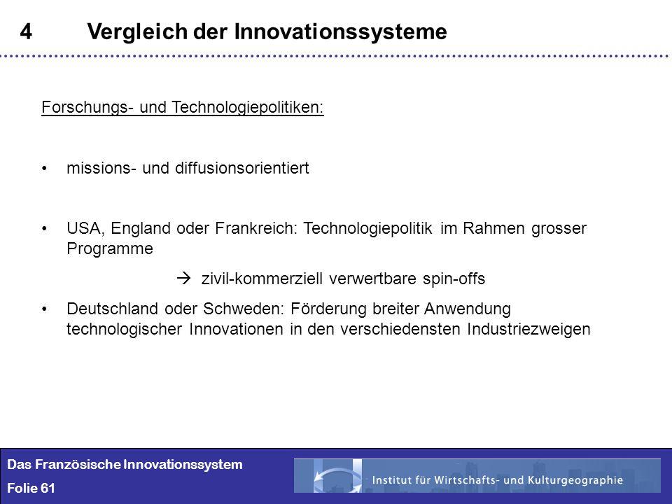 61 4Vergleich der Innovationssysteme Das Französische Innovationssystem Folie 61 Forschungs- und Technologiepolitiken: missions- und diffusionsorienti