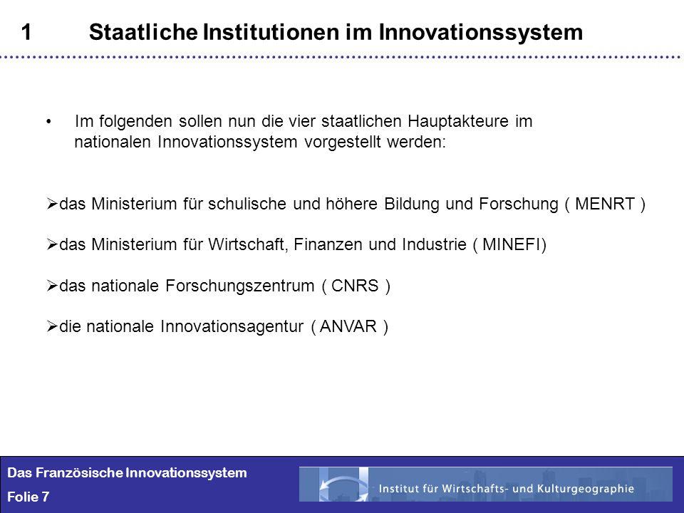 7 1Staatliche Institutionen im Innovationssystem Das Französische Innovationssystem Folie 7 Im folgenden sollen nun die vier staatlichen Hauptakteure