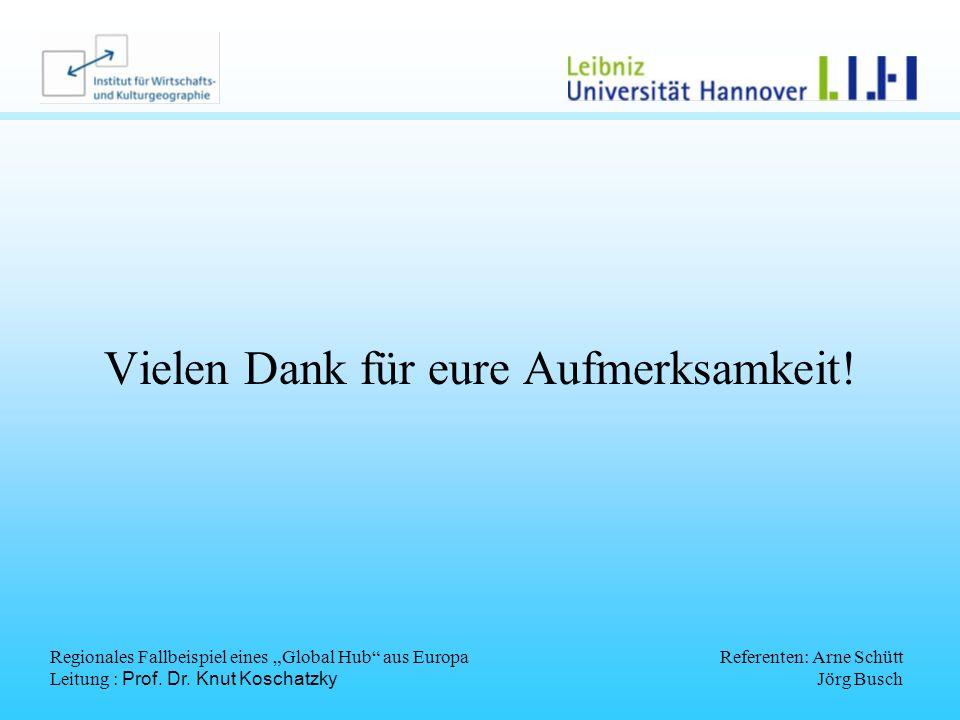 Regionales Fallbeispiel eines Global Hub aus Europa Leitung : Prof. Dr. Knut Koschatzky Referenten: Arne Schütt Jörg Busch Vielen Dank für eure Aufmer