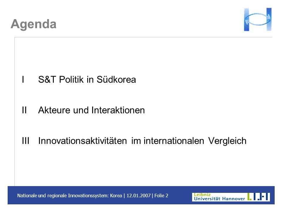 Nationale und regionale Innovationssystem: Korea | 12.01.2007 | Folie 2 Agenda I S&T Politik in Südkorea II Akteure und Interaktionen III Innovationsa