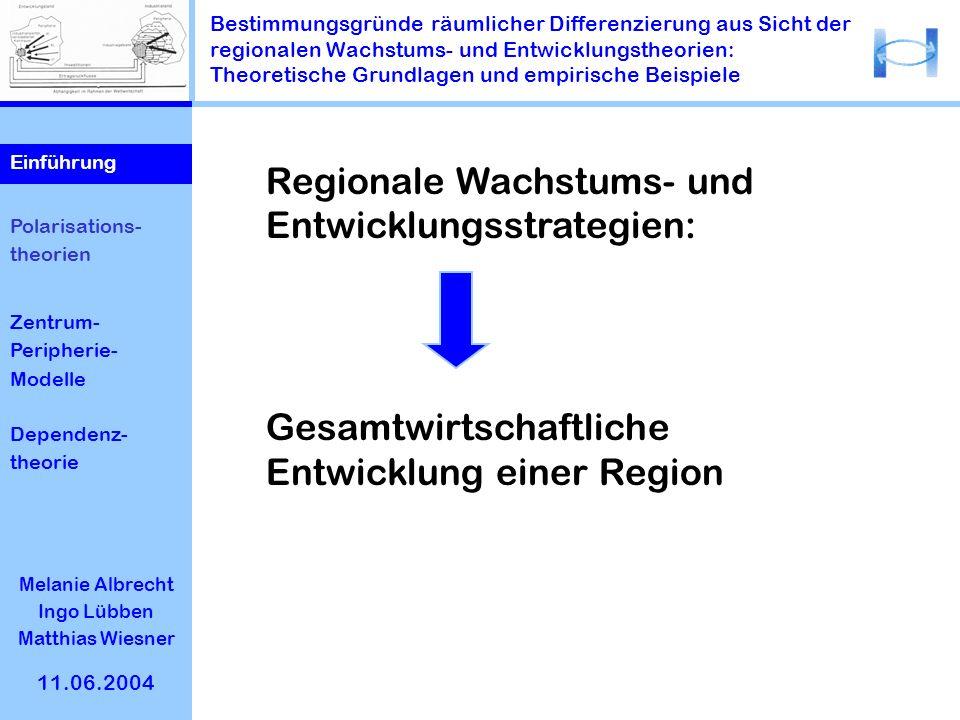 Bestimmungsgründe räumlicher Differenzierung aus Sicht der regionalen Wachstums- und Entwicklungstheorien: Theoretische Grundlagen und empirische Beis
