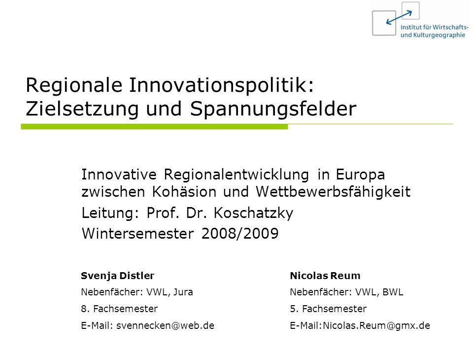 Regionale Innovationspolitik: Zielsetzungen und Spannungsfelder2 Gliederung 1.Einleitung 2.Theoretische Perspektive – vom linearen zum interaktiven Innovationsansatz 3.Innovationspolitik in den Regionen der EU 4.Problembereiche und Lösungsansätze verschiedener Regionstypen 5.Fünf Schlüsselprobleme