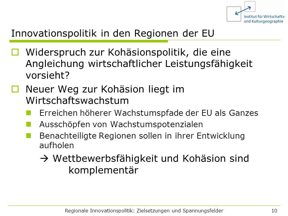Regionale Innovationspolitik: Zielsetzungen und Spannungsfelder10 Innovationspolitik in den Regionen der EU Widerspruch zur Kohäsionspolitik, die eine