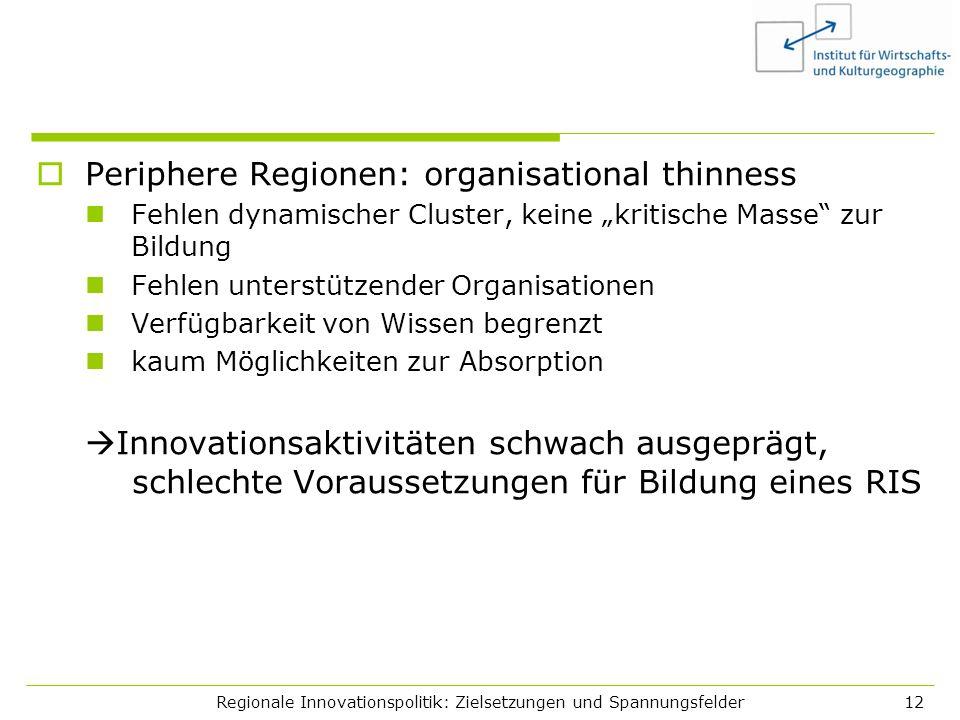 Regionale Innovationspolitik: Zielsetzungen und Spannungsfelder12 Periphere Regionen: organisational thinness Fehlen dynamischer Cluster, keine kritis