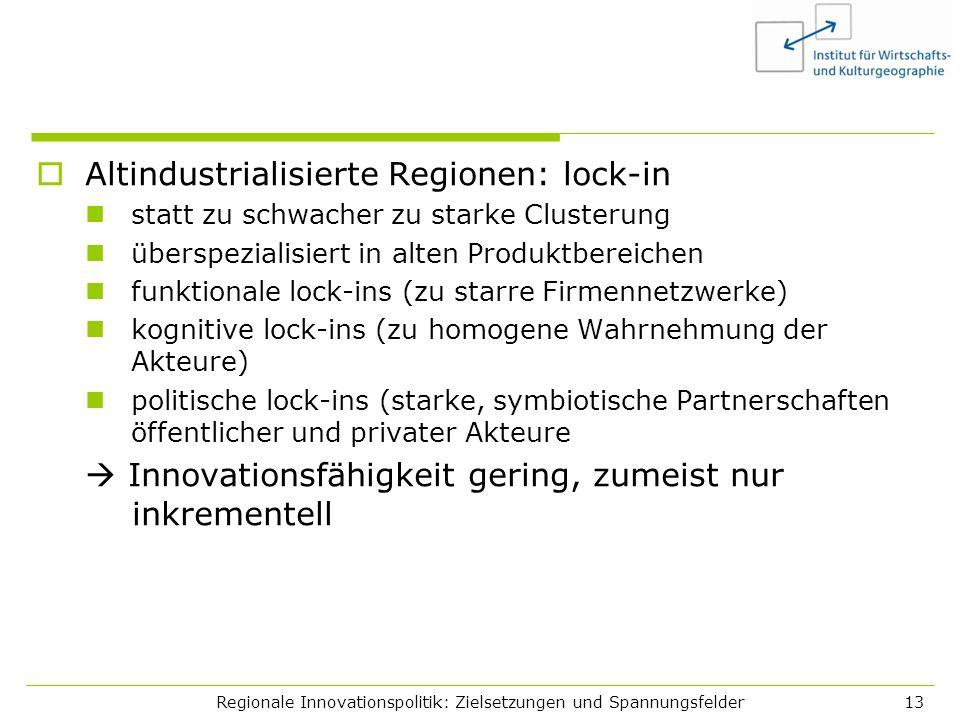 Regionale Innovationspolitik: Zielsetzungen und Spannungsfelder13 Altindustrialisierte Regionen: lock-in statt zu schwacher zu starke Clusterung übers