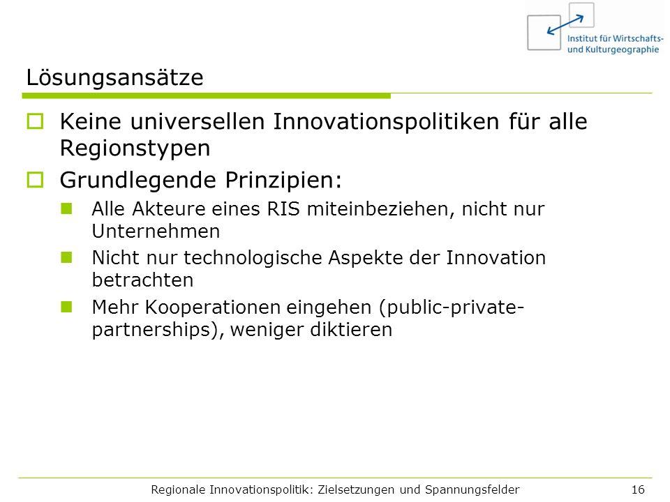 Regionale Innovationspolitik: Zielsetzungen und Spannungsfelder16 Lösungsansätze Keine universellen Innovationspolitiken für alle Regionstypen Grundle