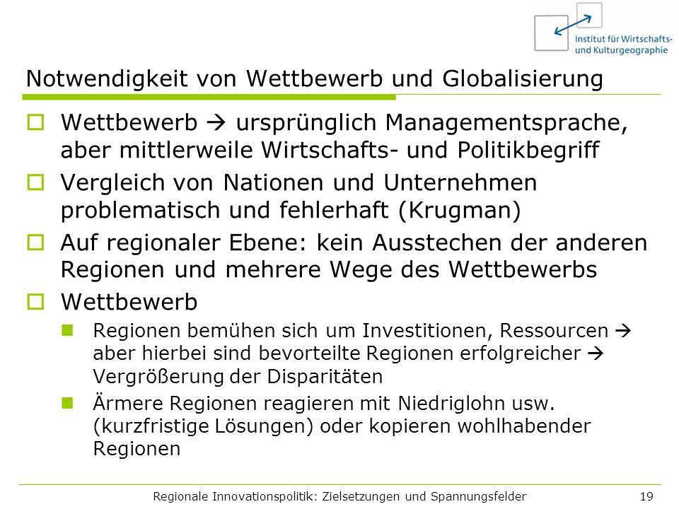 Regionale Innovationspolitik: Zielsetzungen und Spannungsfelder19 Notwendigkeit von Wettbewerb und Globalisierung Wettbewerb ursprünglich Managementsp
