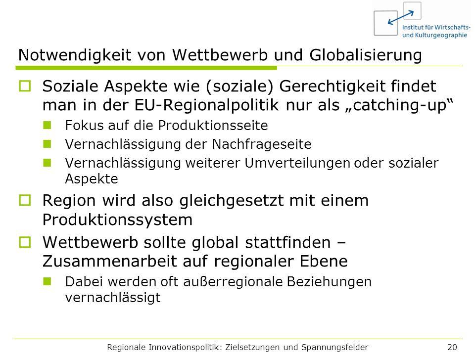 Regionale Innovationspolitik: Zielsetzungen und Spannungsfelder20 Notwendigkeit von Wettbewerb und Globalisierung Soziale Aspekte wie (soziale) Gerech