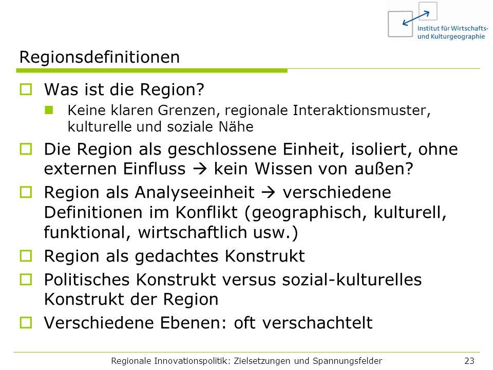 Regionale Innovationspolitik: Zielsetzungen und Spannungsfelder23 Regionsdefinitionen Was ist die Region? Keine klaren Grenzen, regionale Interaktions