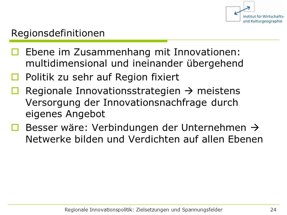 Regionale Innovationspolitik: Zielsetzungen und Spannungsfelder24 Regionsdefinitionen Ebene im Zusammenhang mit Innovationen: multidimensional und ine
