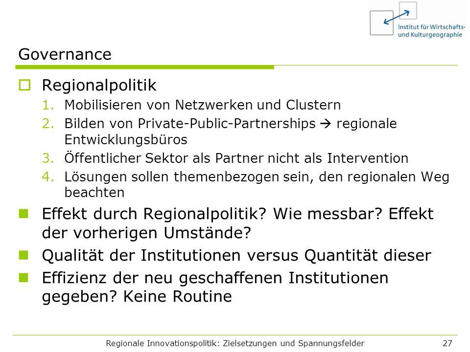 Regionale Innovationspolitik: Zielsetzungen und Spannungsfelder27 Governance Regionalpolitik 1.Mobilisieren von Netzwerken und Clustern 2.Bilden von P