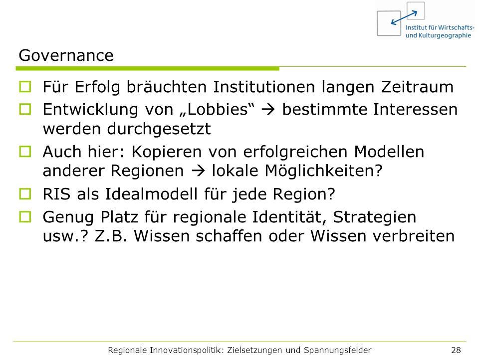 Regionale Innovationspolitik: Zielsetzungen und Spannungsfelder28 Governance Für Erfolg bräuchten Institutionen langen Zeitraum Entwicklung von Lobbie