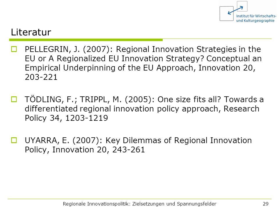Regionale Innovationspolitik: Zielsetzungen und Spannungsfelder29 Literatur PELLEGRIN, J. (2007): Regional Innovation Strategies in the EU or A Region
