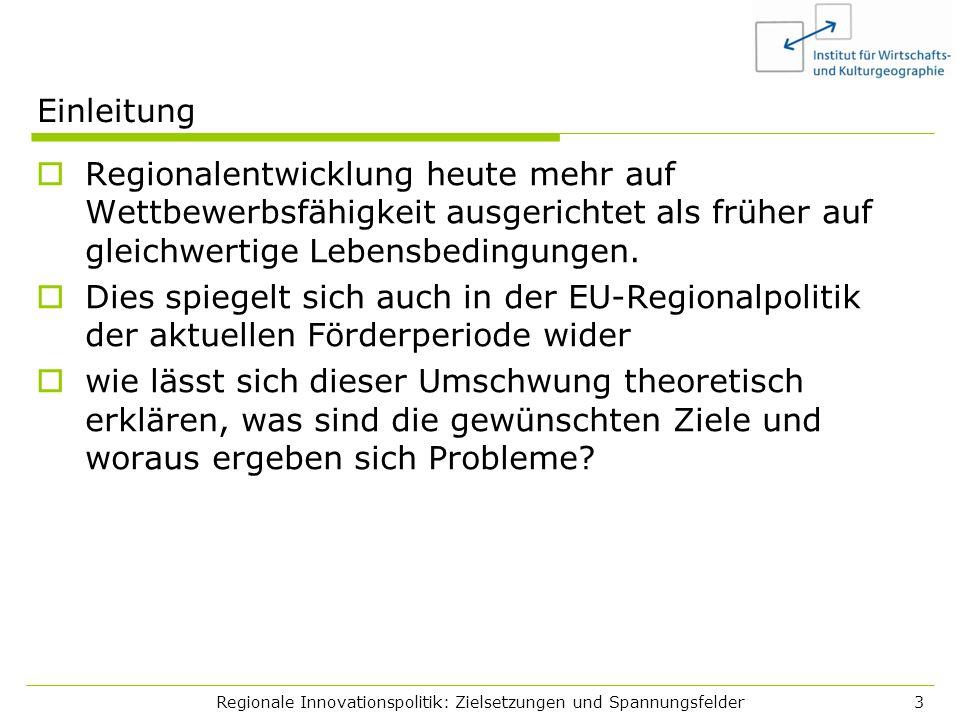 Regionale Innovationspolitik: Zielsetzungen und Spannungsfelder3 Einleitung Regionalentwicklung heute mehr auf Wettbewerbsfähigkeit ausgerichtet als f
