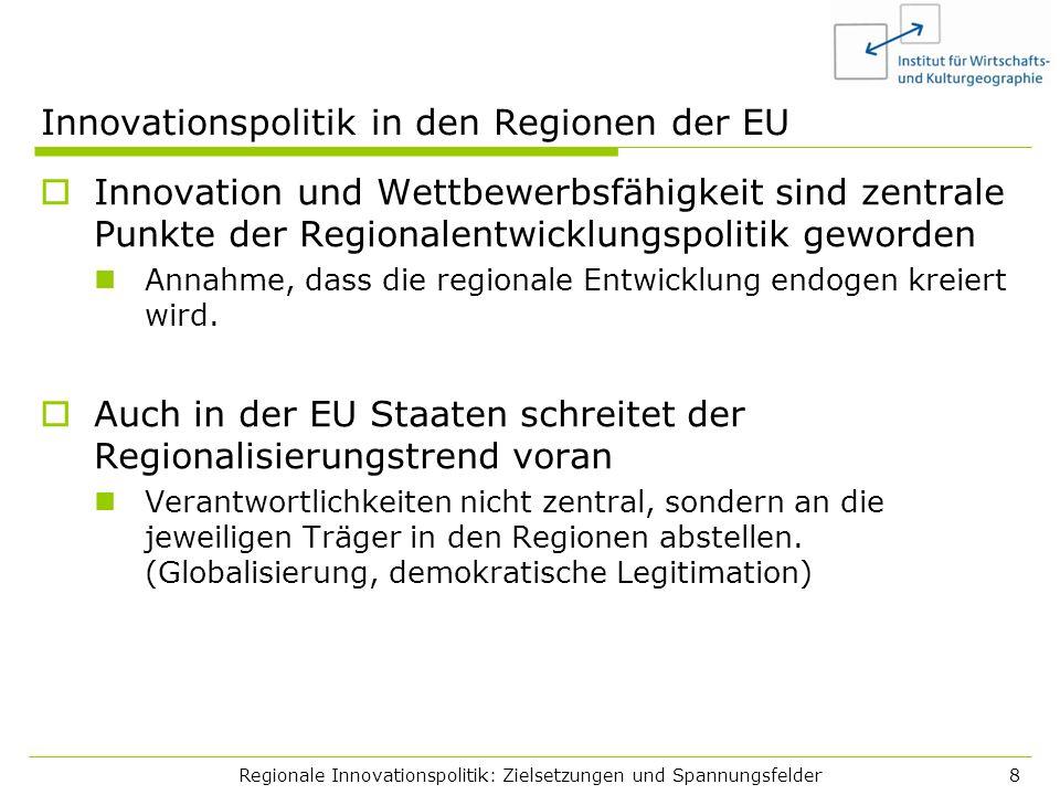Regionale Innovationspolitik: Zielsetzungen und Spannungsfelder8 Innovationspolitik in den Regionen der EU Innovation und Wettbewerbsfähigkeit sind ze