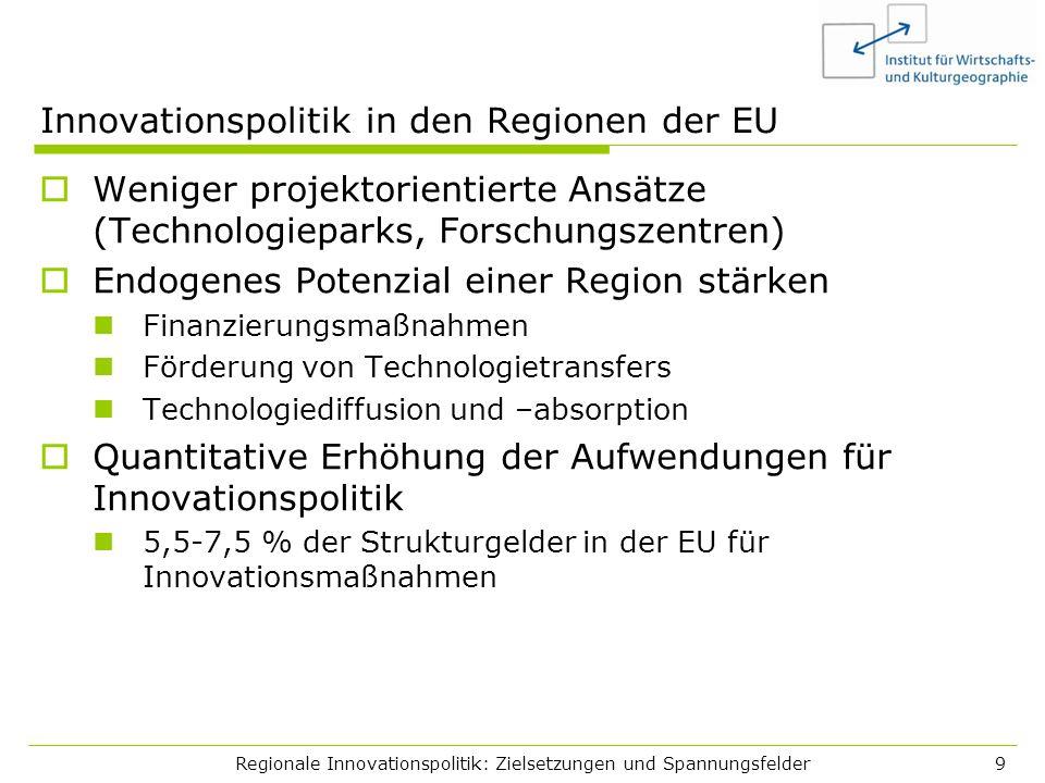 Regionale Innovationspolitik: Zielsetzungen und Spannungsfelder9 Innovationspolitik in den Regionen der EU Weniger projektorientierte Ansätze (Technol