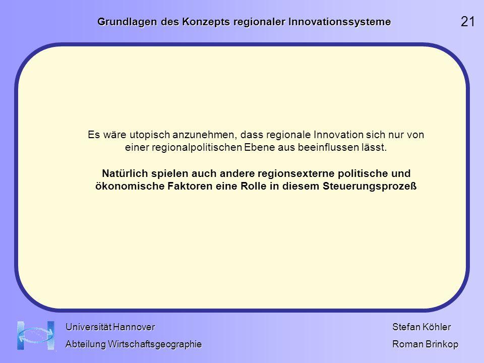 Grundlagen des Konzepts regionaler Innovationssysteme Stefan Köhler Roman Brinkop Universität Hannover Abteilung Wirtschaftsgeographie Es wäre utopisc