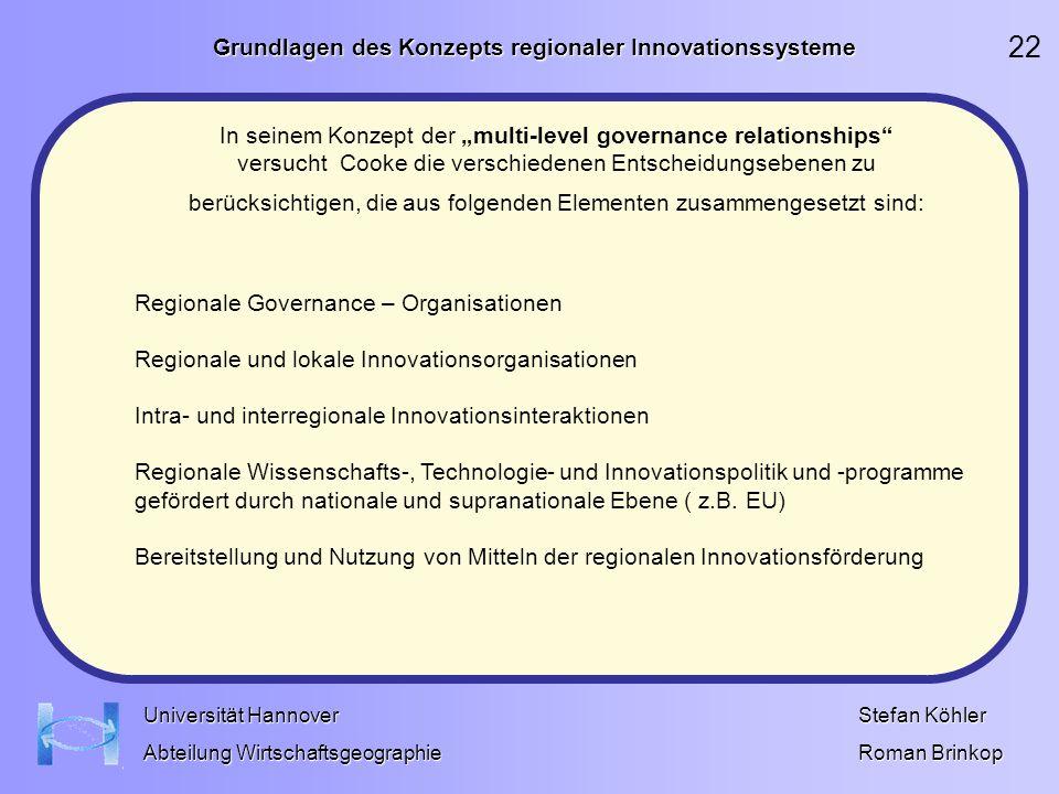 Grundlagen des Konzepts regionaler Innovationssysteme Stefan Köhler Roman Brinkop Universität Hannover Abteilung Wirtschaftsgeographie Regionale Gover