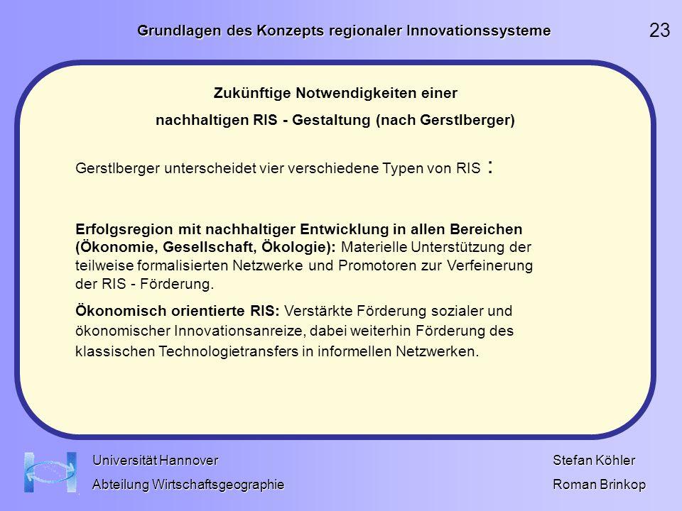 Grundlagen des Konzepts regionaler Innovationssysteme Stefan Köhler Roman Brinkop Universität Hannover Abteilung Wirtschaftsgeographie Zukünftige Notw