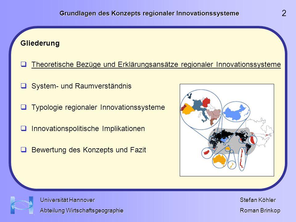 Grundlagen des Konzepts regionaler Innovationssysteme Stefan Köhler Roman Brinkop Universität Hannover Abteilung Wirtschaftsgeographie Lokalbasiert: geringer Hierarchisierungsgrad.
