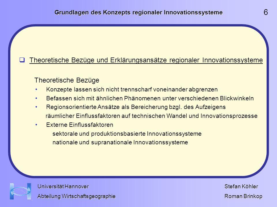 Grundlagen des Konzepts regionaler Innovationssysteme Stefan Köhler Roman Brinkop Universität Hannover Abteilung Wirtschaftsgeographie Literatur Bathelt, H., Depner, H.