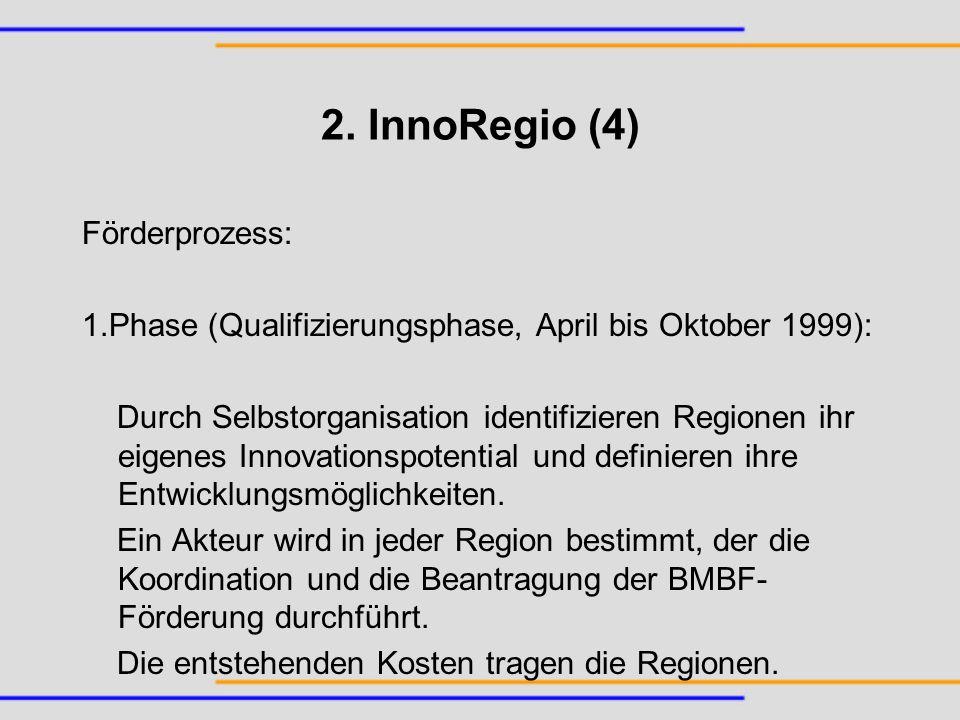 2. InnoRegio (4) Förderprozess: 1.Phase (Qualifizierungsphase, April bis Oktober 1999): Durch Selbstorganisation identifizieren Regionen ihr eigenes I