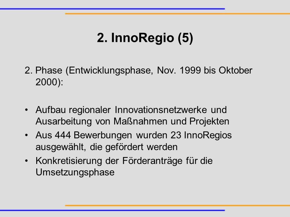 2. InnoRegio (5) 2. Phase (Entwicklungsphase, Nov. 1999 bis Oktober 2000): Aufbau regionaler Innovationsnetzwerke und Ausarbeitung von Maßnahmen und P