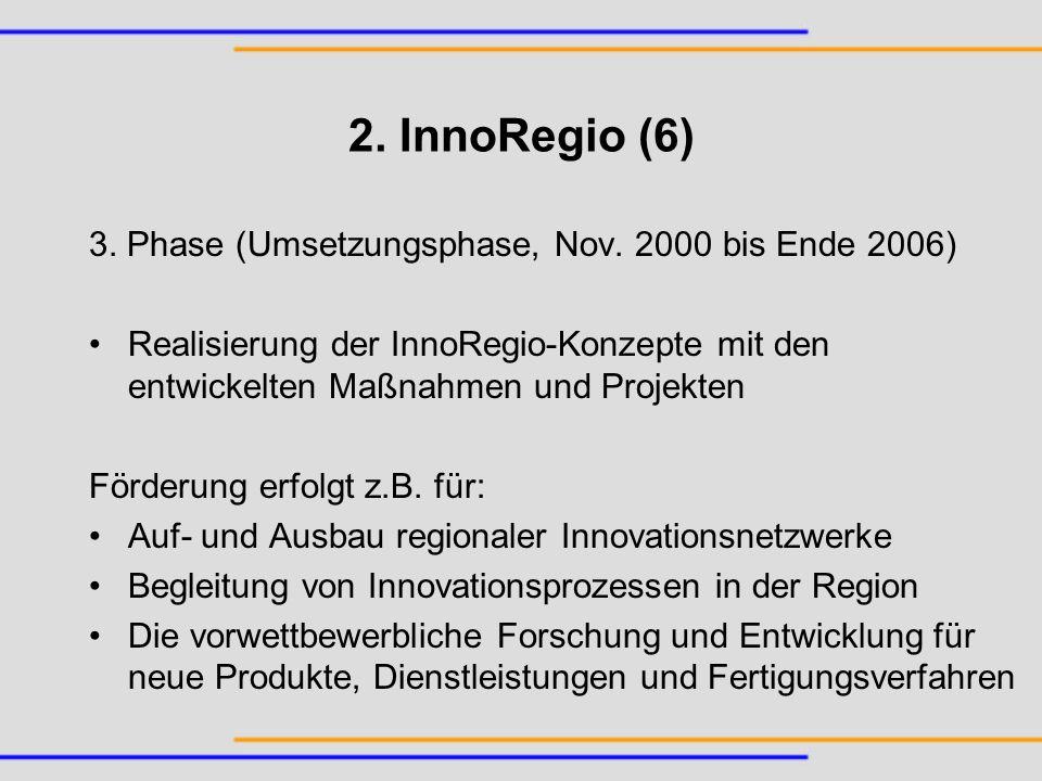 2. InnoRegio (6) 3. Phase (Umsetzungsphase, Nov. 2000 bis Ende 2006) Realisierung der InnoRegio-Konzepte mit den entwickelten Maßnahmen und Projekten