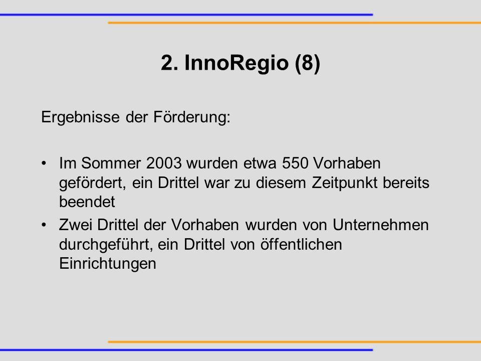 2. InnoRegio (8) Ergebnisse der Förderung: Im Sommer 2003 wurden etwa 550 Vorhaben gefördert, ein Drittel war zu diesem Zeitpunkt bereits beendet Zwei