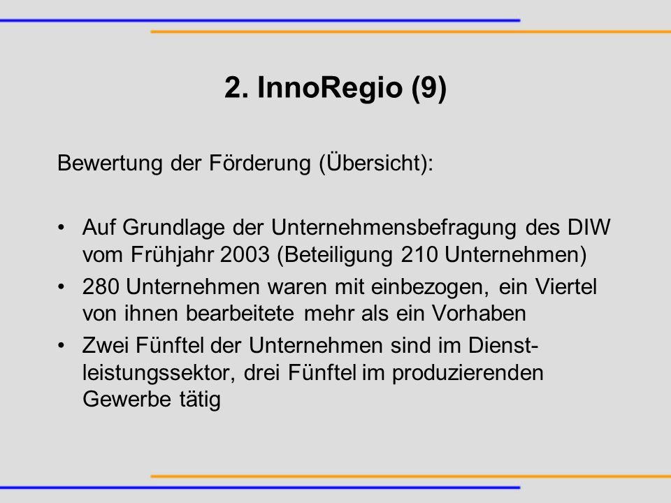 2. InnoRegio (9) Bewertung der Förderung (Übersicht): Auf Grundlage der Unternehmensbefragung des DIW vom Frühjahr 2003 (Beteiligung 210 Unternehmen)
