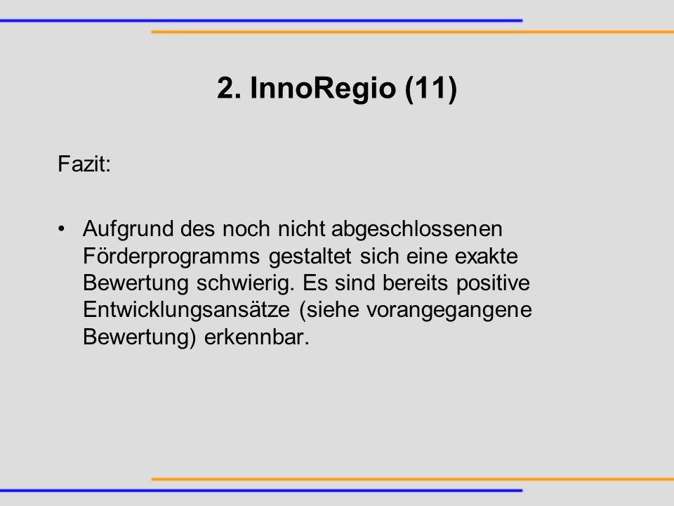2. InnoRegio (11) Fazit: Aufgrund des noch nicht abgeschlossenen Förderprogramms gestaltet sich eine exakte Bewertung schwierig. Es sind bereits posit
