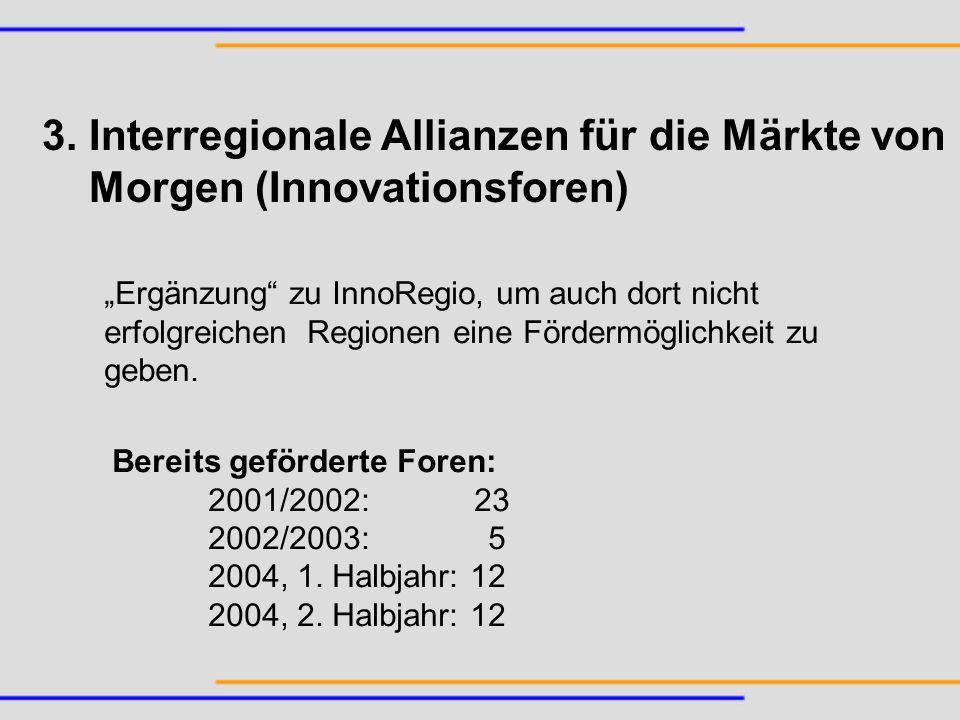 3. Interregionale Allianzen für die Märkte von Morgen (Innovationsforen) Ergänzung zu InnoRegio, um auch dort nicht erfolgreichen Regionen eine Förder