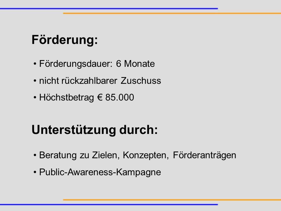 Förderungsdauer: 6 Monate nicht rückzahlbarer Zuschuss Höchstbetrag 85.000 Förderung: Unterstützung durch: Beratung zu Zielen, Konzepten, Förderanträg