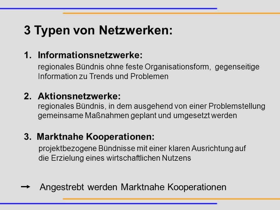 3 Typen von Netzwerken: 1.Informationsnetzwerke: regionales Bündnis ohne feste Organisationsform, gegenseitige Information zu Trends und Problemen 2.A