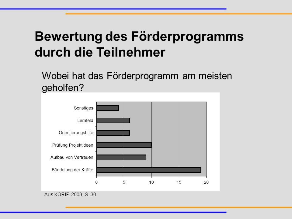 Bewertung des Förderprogramms durch die Teilnehmer Wobei hat das Förderprogramm am meisten geholfen? Aus KORIF, 2003, S. 30