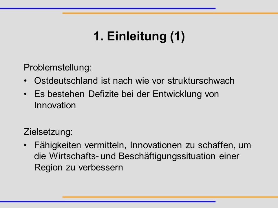 1. Einleitung (1) Problemstellung: Ostdeutschland ist nach wie vor strukturschwach Es bestehen Defizite bei der Entwicklung von Innovation Zielsetzung