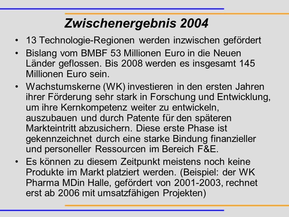 Zwischenergebnis 2004 13 Technologie-Regionen werden inzwischen gefördert Bislang vom BMBF 53 Millionen Euro in die Neuen Länder geflossen. Bis 2008 w
