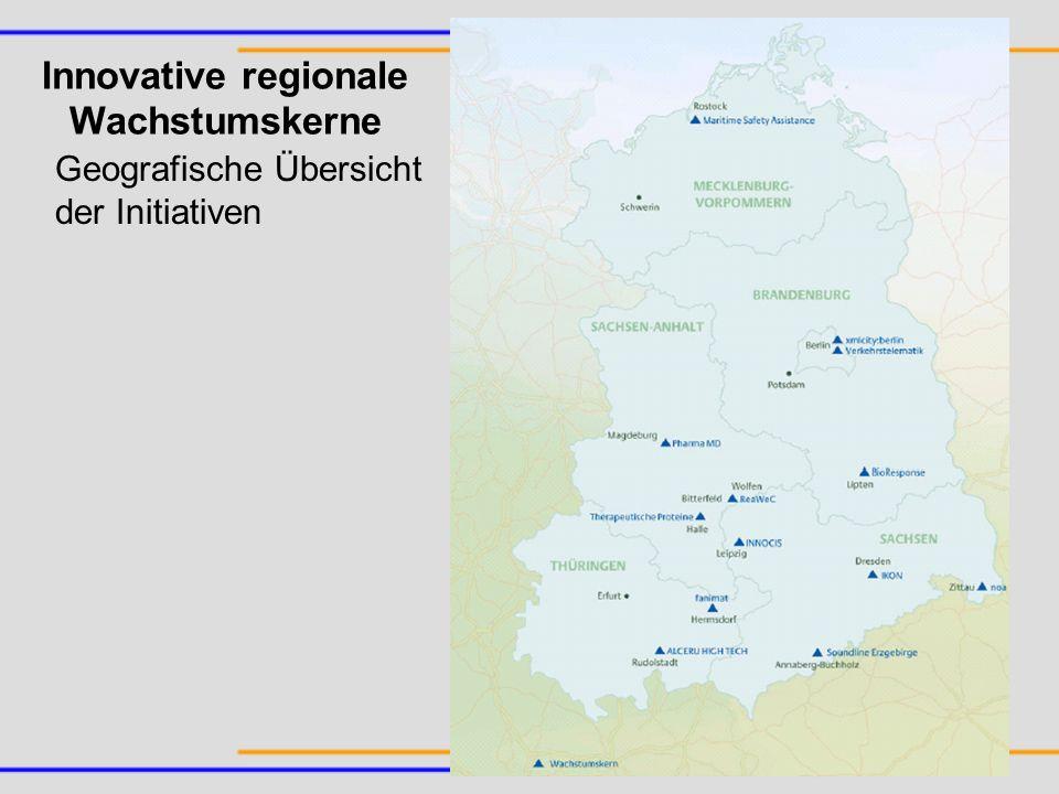 Geografische Übersicht der Initiativen Innovative regionale Wachstumskerne
