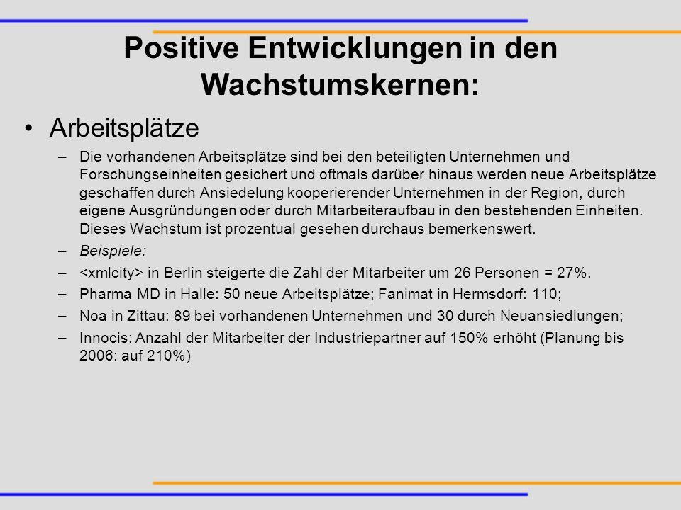 Positive Entwicklungen in den Wachstumskernen: Arbeitsplätze –Die vorhandenen Arbeitsplätze sind bei den beteiligten Unternehmen und Forschungseinheit
