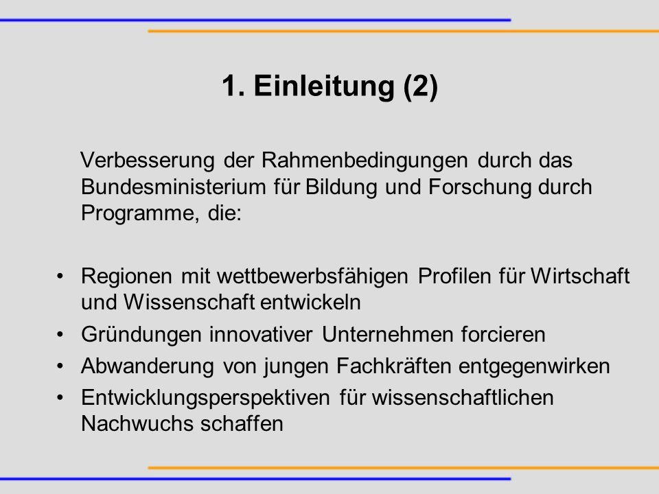 Förderzeiträume 2001 – 2003: –fanimat – Funktionelle anorganische nichtmetallische Materialien; Hermsdorf, Thüringen –INNOCIS – Innovationsinitiative für kostengünstige flexible CIS-Photovoltaik; Leipzig, Sachsen –Maritime Safety Assistance; Rostock-Warnemünde, Mecklenburg-Vorpommern –noa – Netzwerk für innovative Oberflächentechnik und Anlagenbau; Zittau, Sachsen –Pharma MD; Magdeburg, Sachsen-Anhalt –Therapeutische Proteine – Technologien zur industriellen Produktion therapeutischer rekombinanter Proteine; Halle, Sachsen-Anhalt –Verkehrstelematik – Anwendungszentrum Intermodale Verkehrstelematik; Berlin – ; Berlin