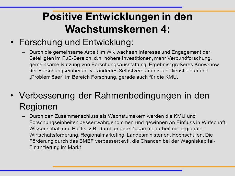 Forschung und Entwicklung: –Durch die gemeinsame Arbeit im WK wachsen Interesse und Engagement der Beteiligten im FuE-Bereich, d.h. höhere Investition