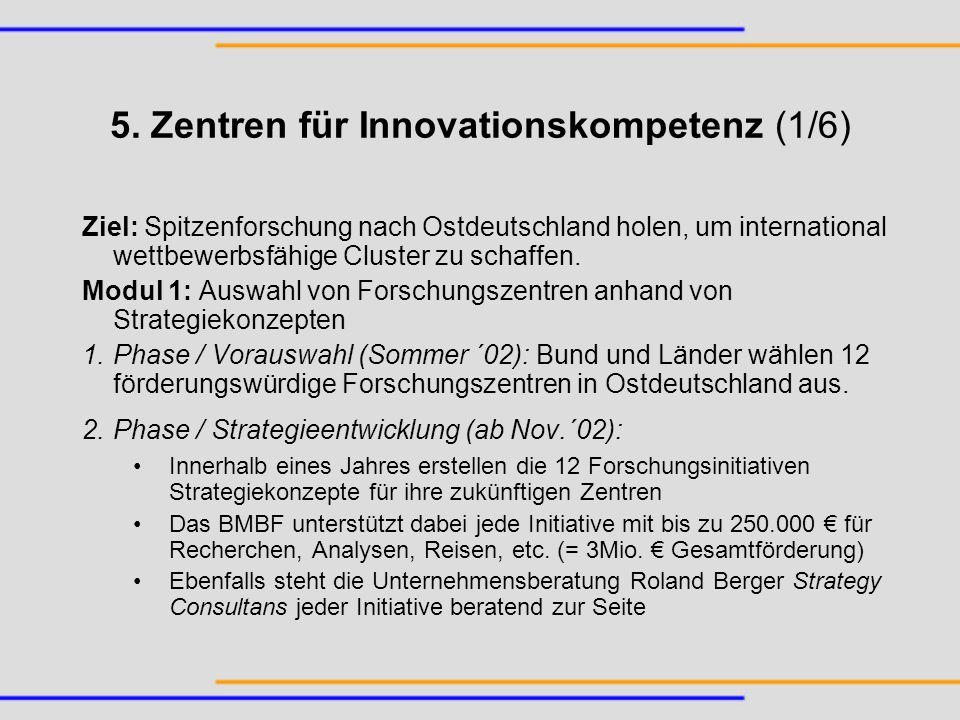 5. Zentren für Innovationskompetenz (1/6) Ziel: Spitzenforschung nach Ostdeutschland holen, um international wettbewerbsfähige Cluster zu schaffen. Mo