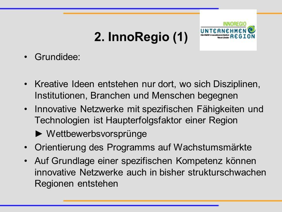 2. InnoRegio (1) Grundidee: Kreative Ideen entstehen nur dort, wo sich Disziplinen, Institutionen, Branchen und Menschen begegnen Innovative Netzwerke