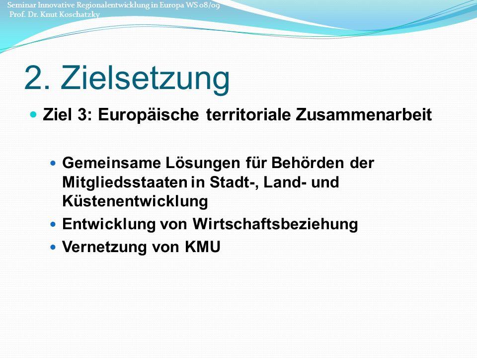 2. Zielsetzung Ziel 3: Europäische territoriale Zusammenarbeit Gemeinsame Lösungen für Behörden der Mitgliedsstaaten in Stadt-, Land- und Küstenentwic